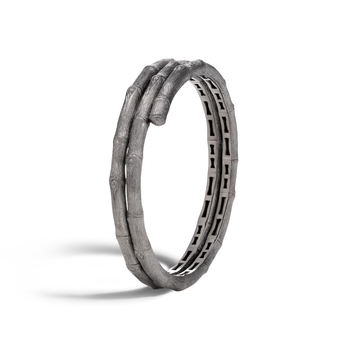 Bamboo Double Coil Bracelet in Blackened Brushed Silver