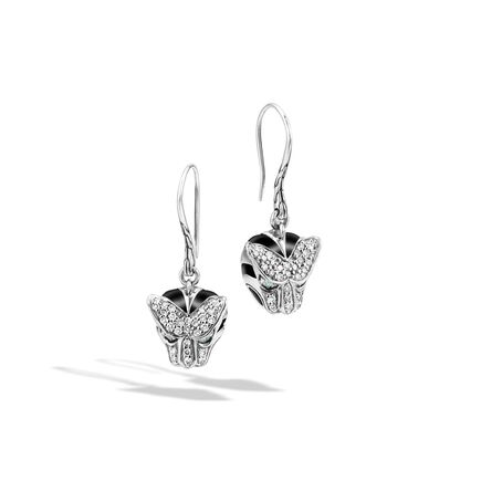 Legends Macan Drop Earring in Silver with Diamonds