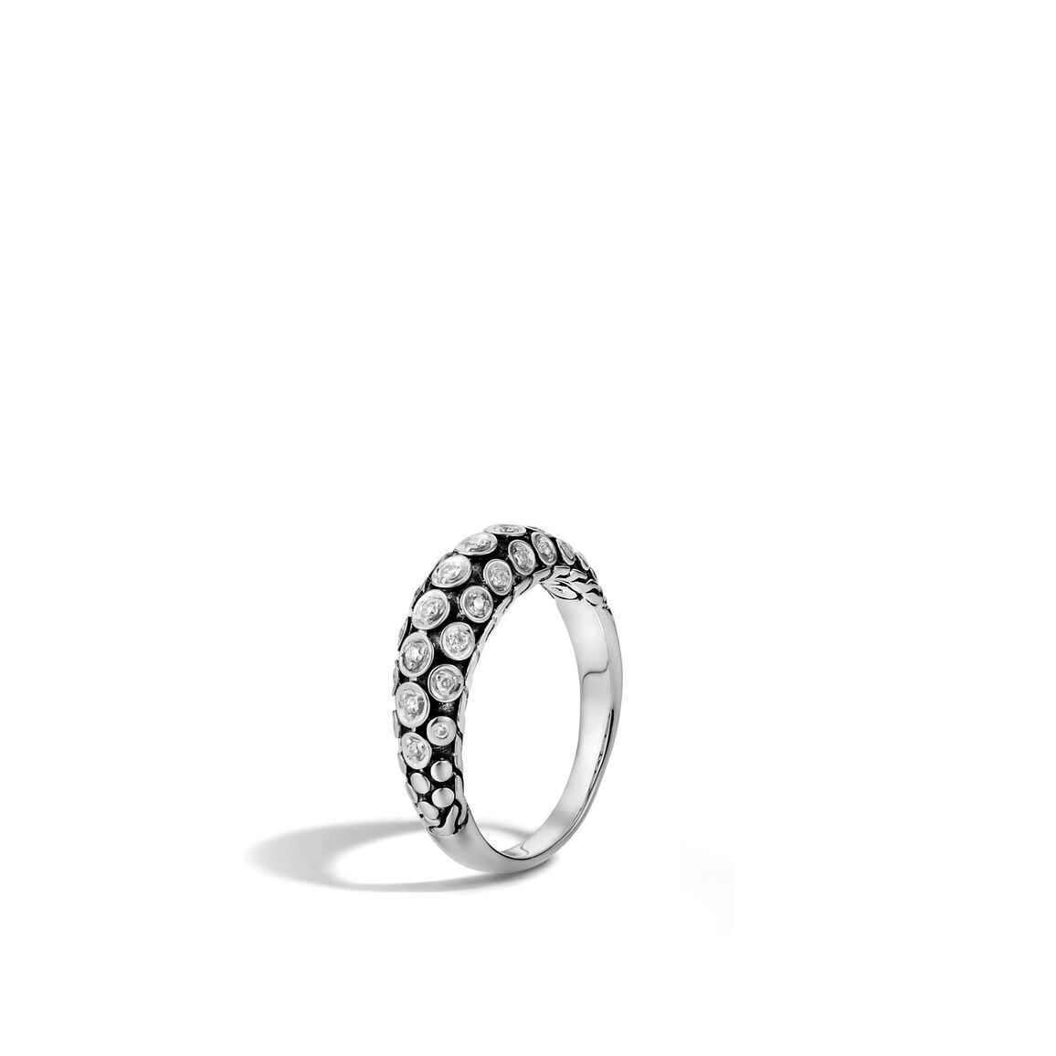 Dot 5MM Dome Ring in Silver with Diamonds