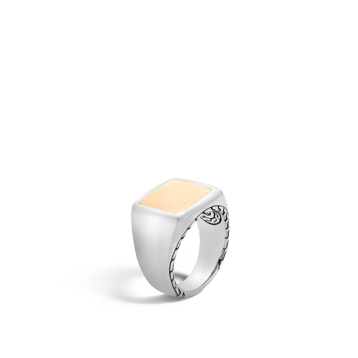 Classic Chain Signet Ring in Silver and 18K Gold
