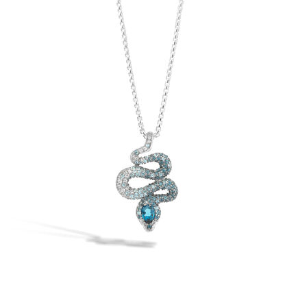 Legends Cobra Pendant Necklace in Silver with Gemstone