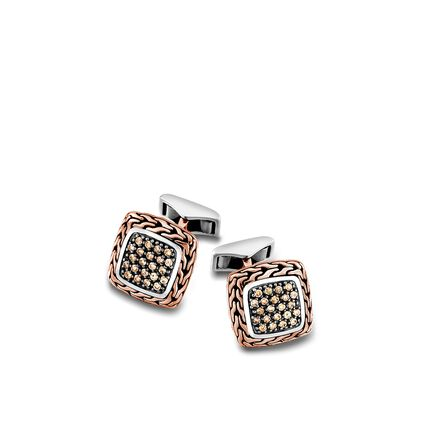 Classic Chain Cufflinks in Silver and Bronze with Diamonds