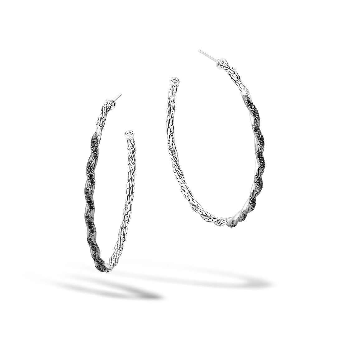 Twisted Chain Large Hoop Earring in Silver with Gemstone