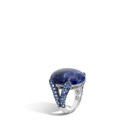 Classic Chain Celestial Orb Ring, Silver, 24x18MM Gemstone