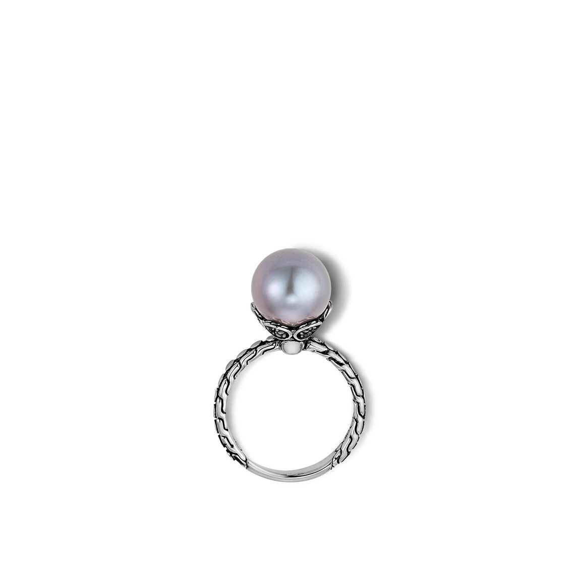 Dot Charm Ring in Silver with 10MM Pearl and Gemstone