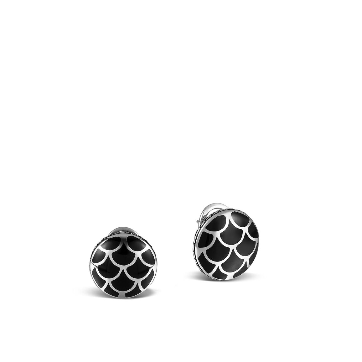 Legends Naga Button Earring in Silver with Enamel