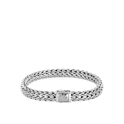 Classic Chain 7.5MM Hammered  Clasp Bracelet in Silver