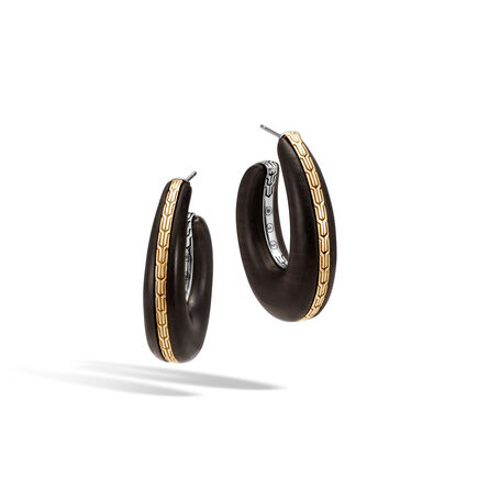 Classic Chain Large Hoop Earring, Silver, 18K Gold with Wood