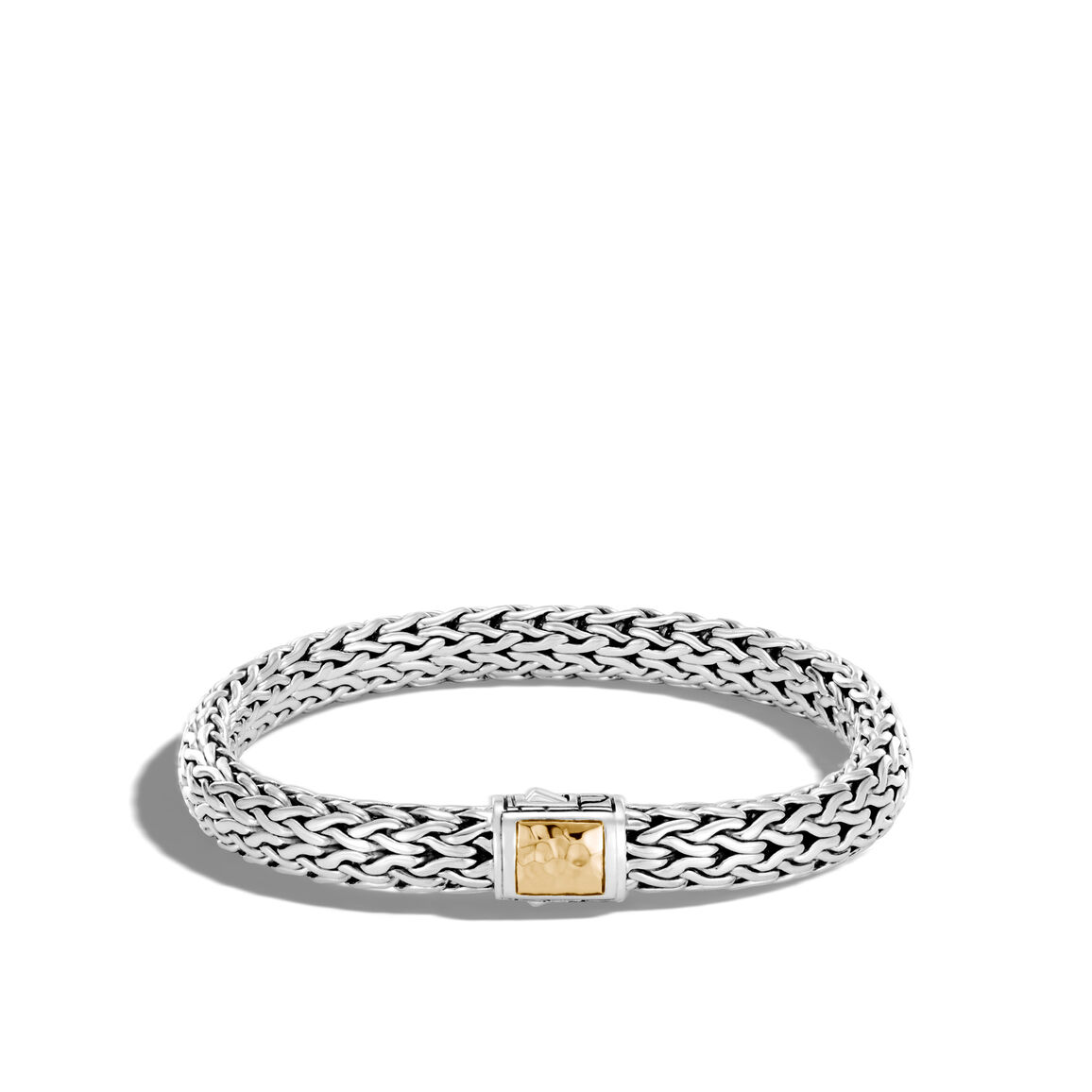 Classic Chain 7.5MM Hammered Clasp Bracelet, Silver, 18K