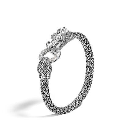 Legends Naga 6MM Station Bracelet in Silver with Diamonds