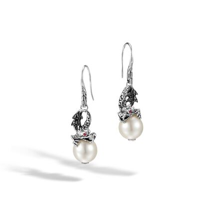 Legends Naga Drop Earring in Silver, 11MM Pearl, Gemstone