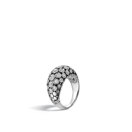 Dot 11MM Dome Ring in Silver with Diamonds
