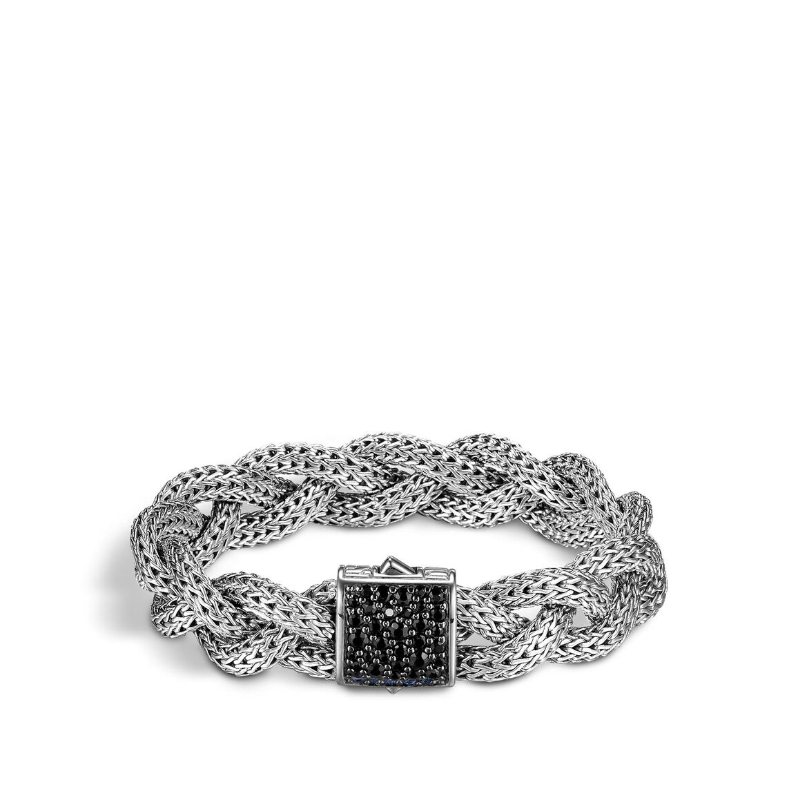 Braided Chain 13.5MM Woven Bracelet in Silver with Gemstone