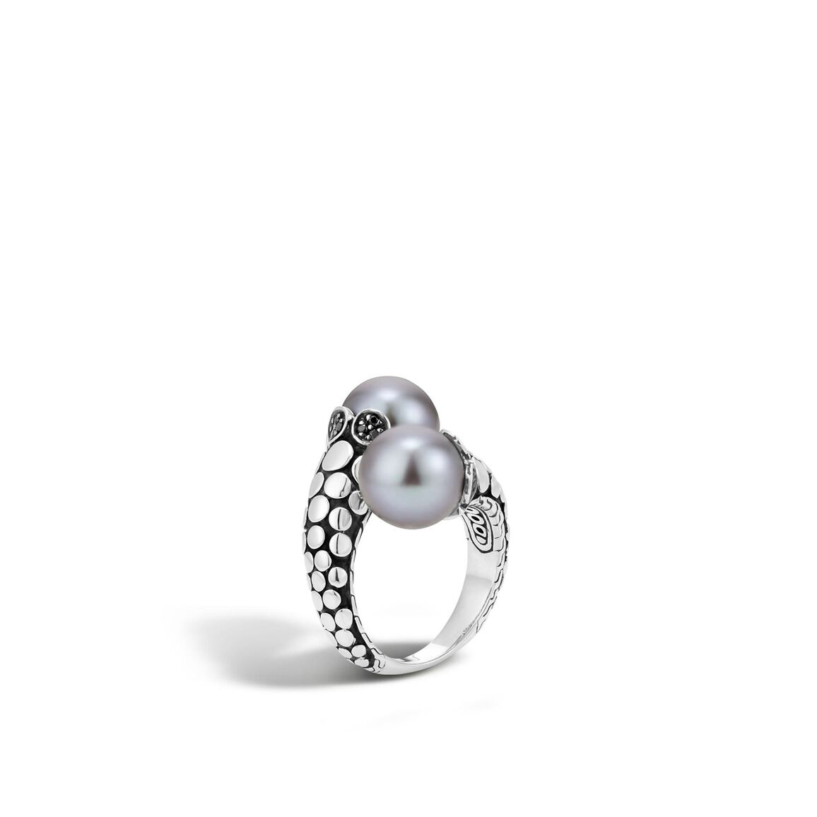 Dot Bypass Ring in Silver with 11MM Pearl and Gemstone