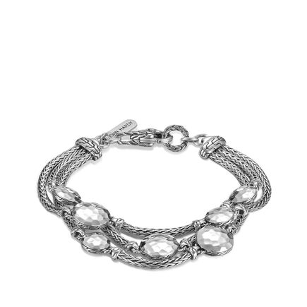 Dot Triple Row Bracelet in Hammered Silver