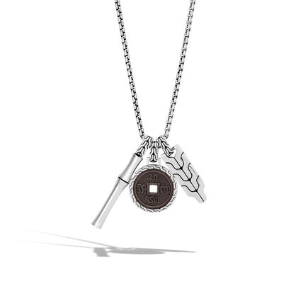 Bamboo Charm Necklace in Silver