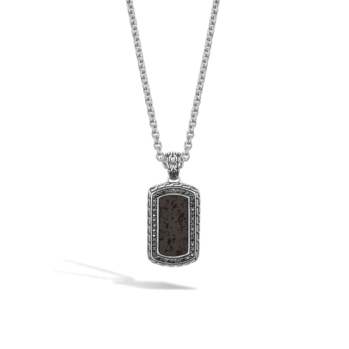 Classic Chain Dog Tag Necklace in Silver, Volcanic, Gemstone