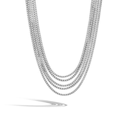 Classic Chain Five Row Necklace in Silver