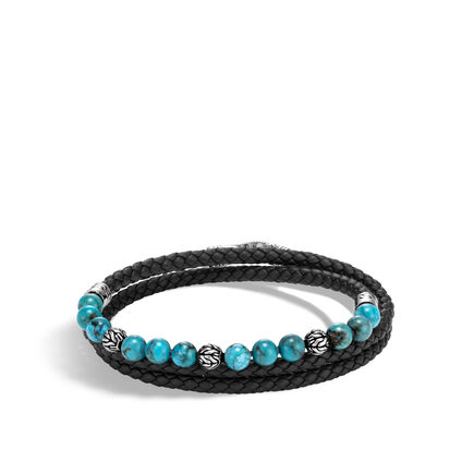 Chain Triple Wrap Bracelet, Silver, Leather with 6MM Gems