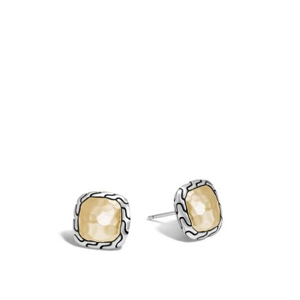 Classic Chain Square Stud Earring, Silver, Hammered 18K Gold