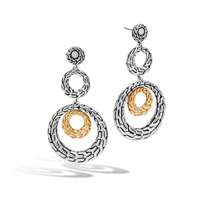 Classic Chain Triple Drop Earring in Silver and 18K Gold