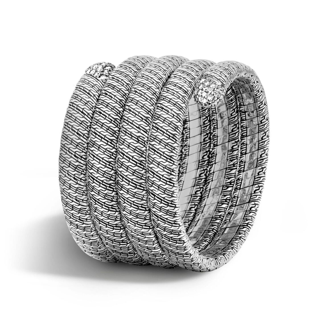 Classic Chain Multiple coil Bracelet in Silver with Diamonds