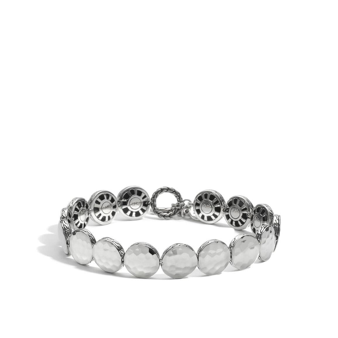 Dot 10.5MM Link Bracelet in Hammered Silver