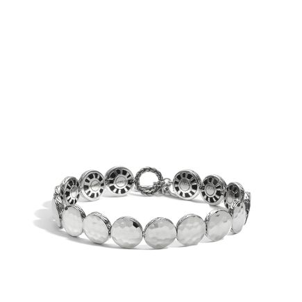 Dot 10.5MM Link Bracelet in Hammered Silver