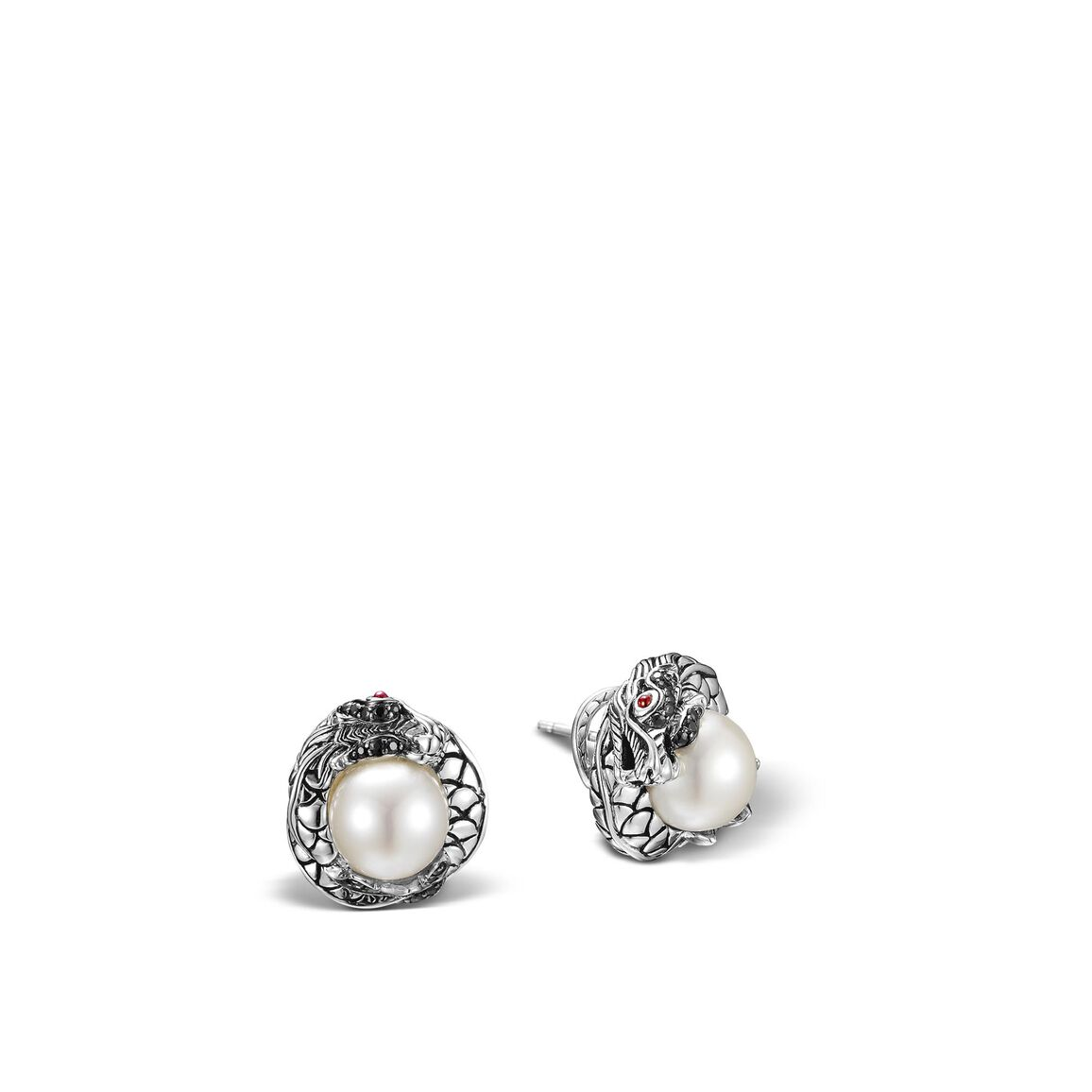 Legends Naga Button Earring in Silver,  11MM Pearl, Gemstone