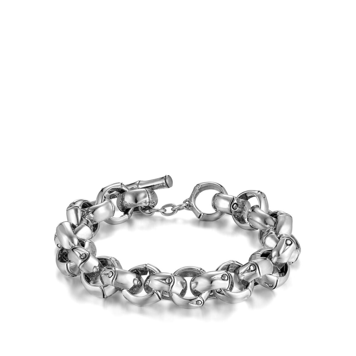 Bamboo 13MM Link Bracelet in Silver