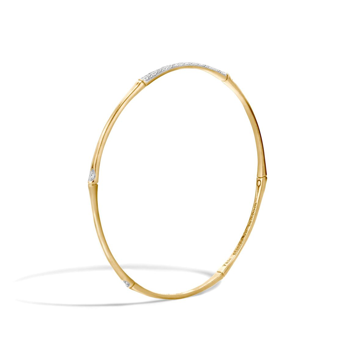 Bamboo 2MM Bangle in 18K Gold with Diamonds