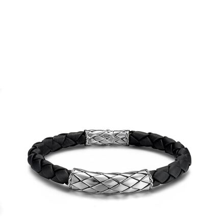 Legends Naga 7MM Station Bracelet in Silver and Leather