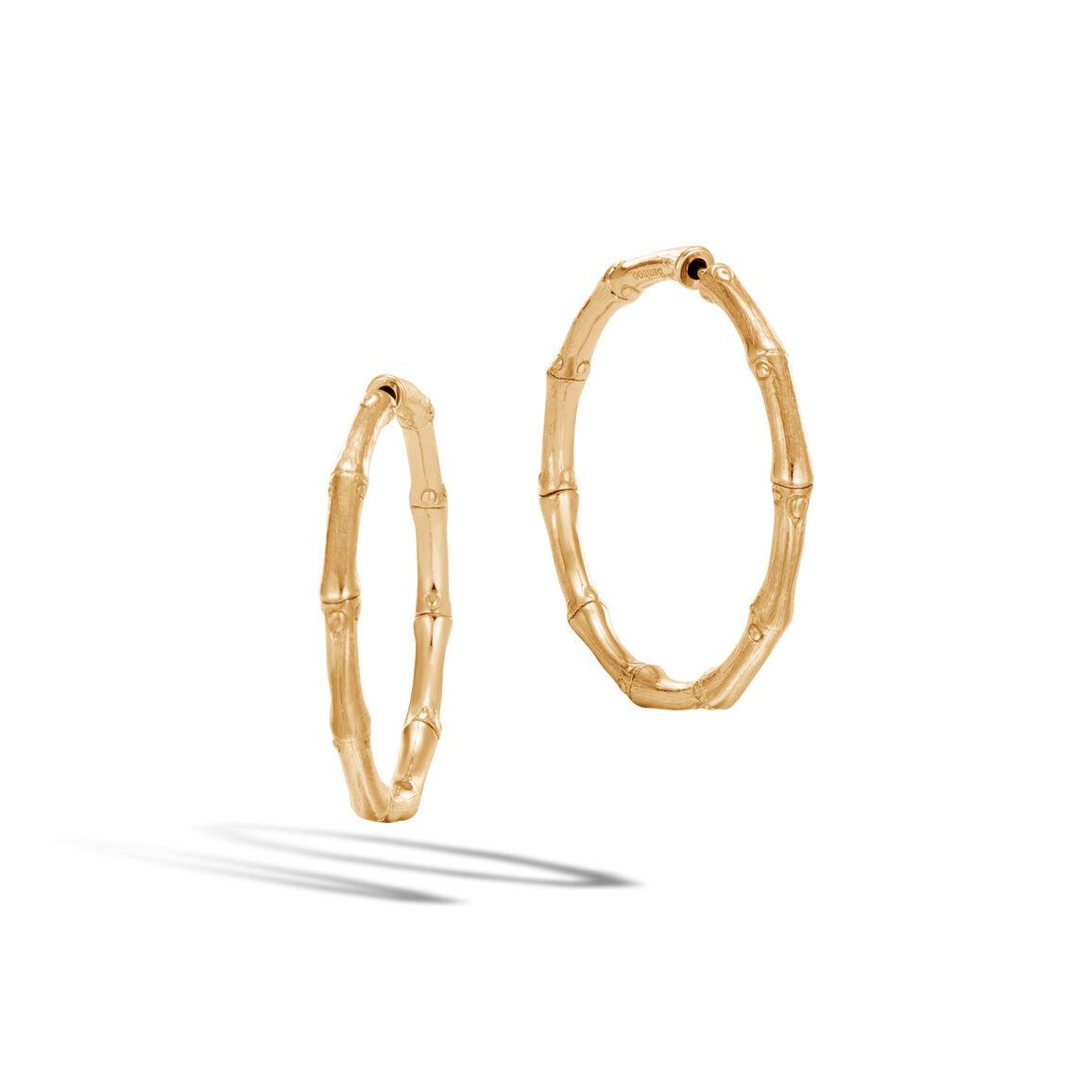 Bamboo Medium Hoop Earrings in 18K Gold