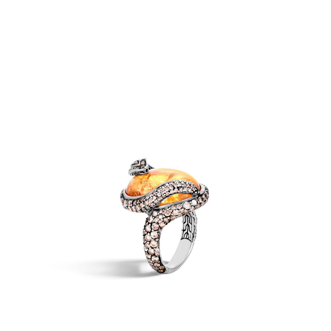 Legends Cobra Ring, Silver, 20x15MM Gems, Champagne Diamonds