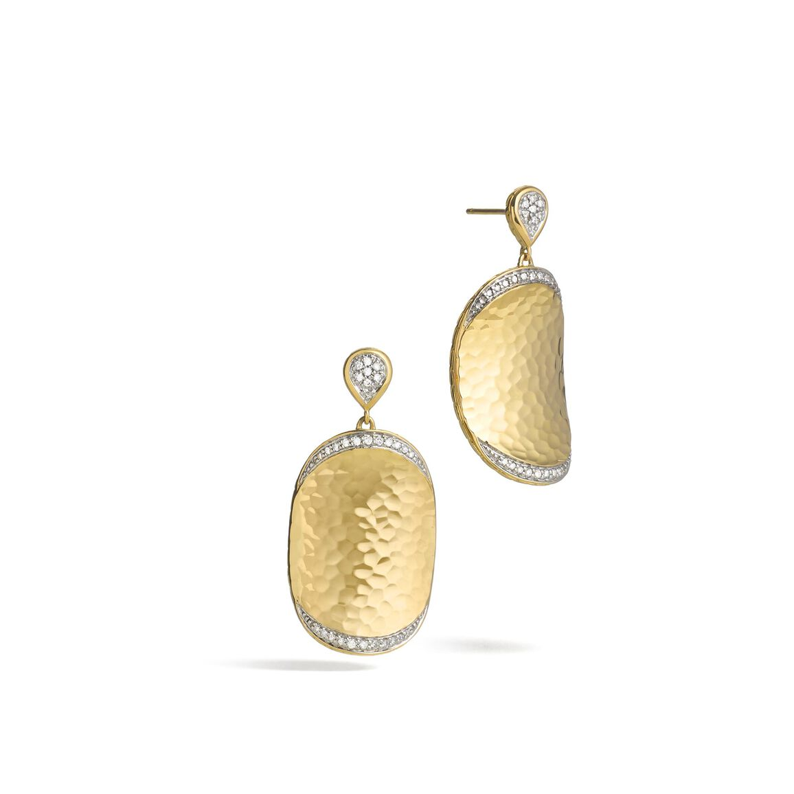 Classic Chain Large Drop Earring, Hammered 18K, Diamonds