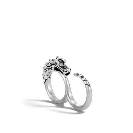 Legends Naga Two Finger Ring, Brushed Silver with Gemstone