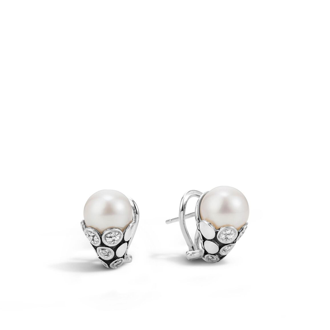 Dot Buddha Belly Earring in Silver with 10MM Pearl, Diamonds