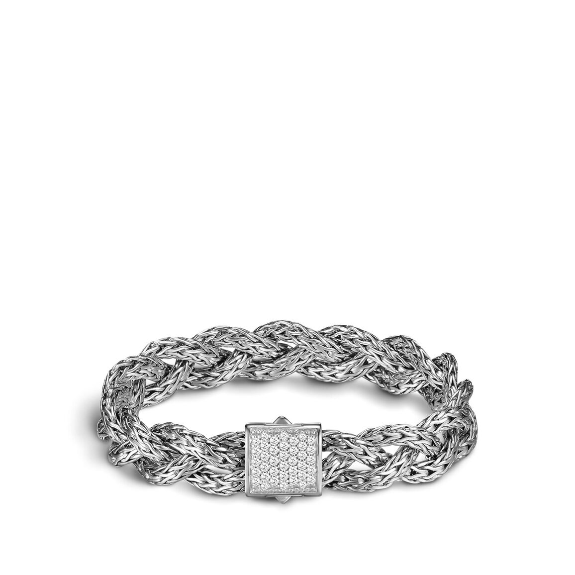 Braided Chain 11MM Bracelet in Silver with Diamonds