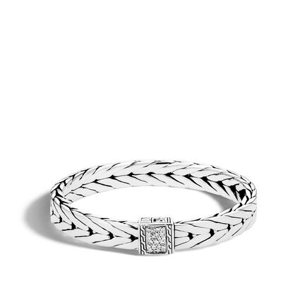 Modern Chain 9MM Bracelet in Silver with Diamonds