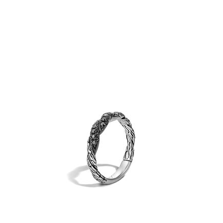 Twisted Chain 4MM Band Ring in Silver with Gemstone