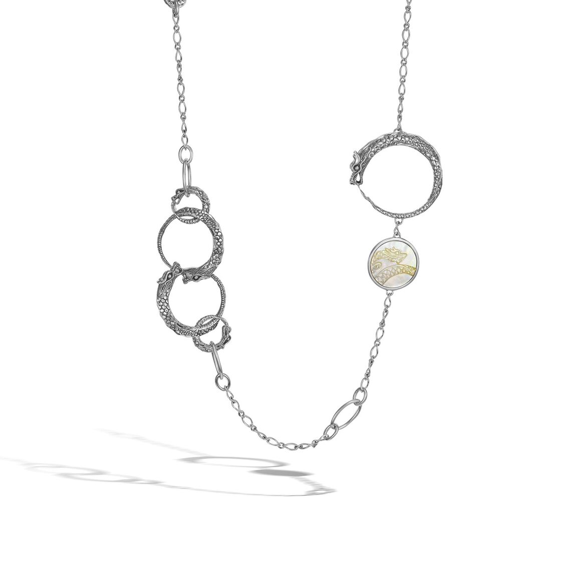 Sautoir Necklace with Pearl and Mother of Pearl