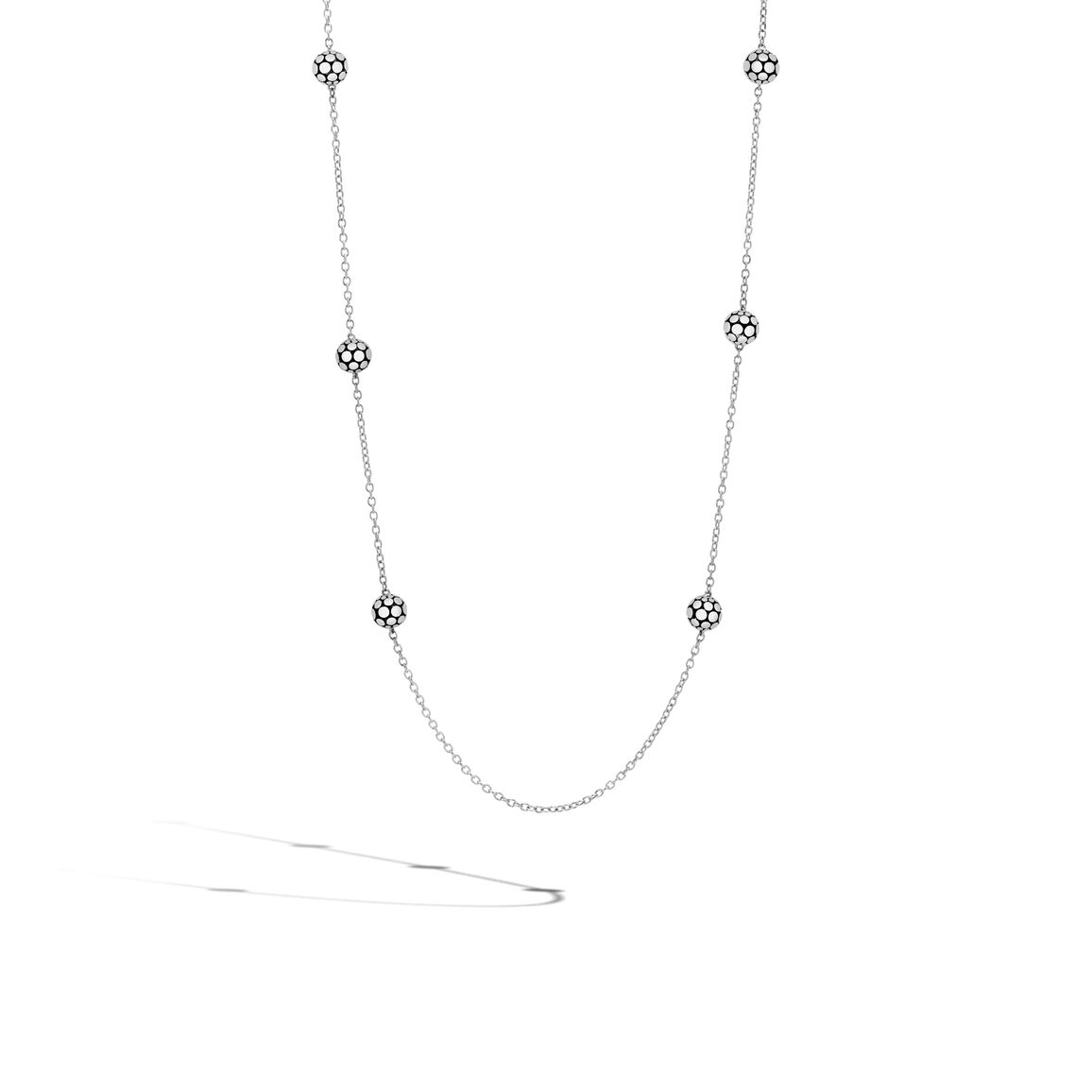 Dot 4MM Station Necklace in Silver