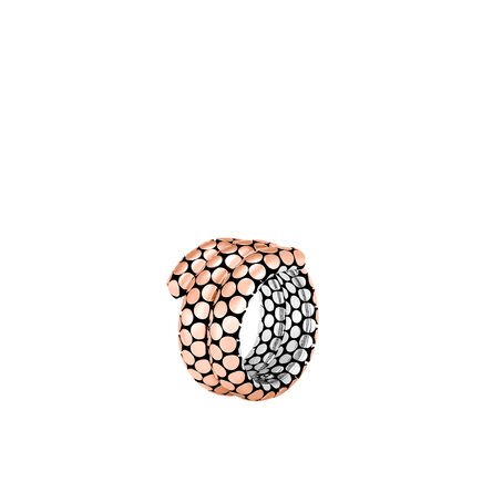Dot Double Coil Ring in Silver and 18K Rose Gold
