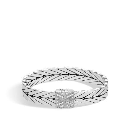Modern Chain 11MM Bracelet in Silver with Diamonds