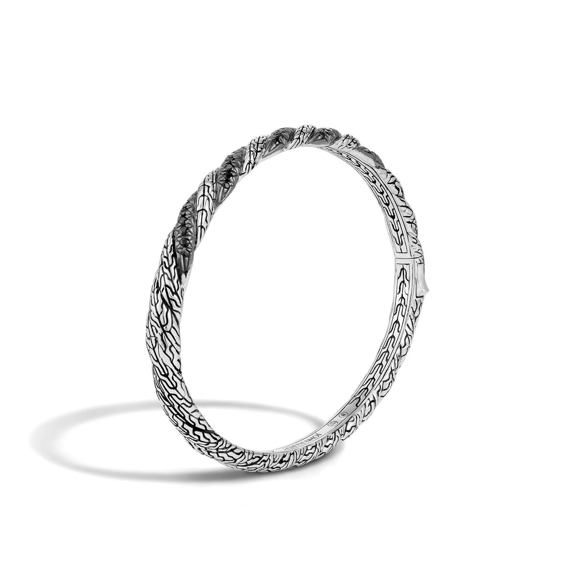 Twisted Chain 4.5MM Hinged Bangle in Silver with Gemstone