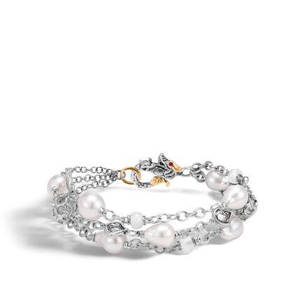 Legends Naga Three Row Bracelet, Silver, Gold, Pearl, Gems