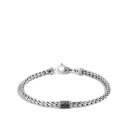 40th Anniversary Classic Chain Lava Bracelet in Silver with Gemstone