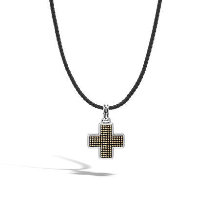 Chain Jawan Cross Necklace in Silver, Gold and Leather