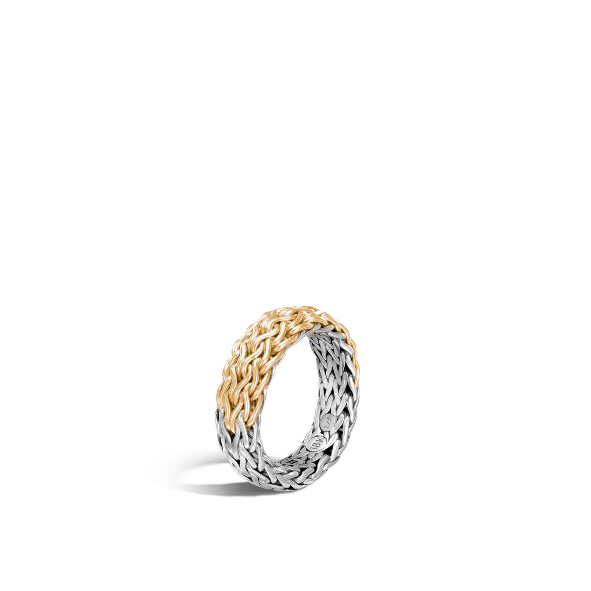 Classic Chain 7MM Band Ring in Silver and 18K Gold