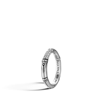 Bamboo 3MM Band Ring in Silver with Diamonds